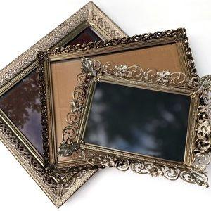 3 Epic Vintage Ornate Picture Frames / Tray Set